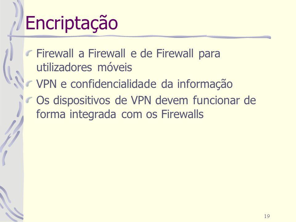 19 Encriptação Firewall a Firewall e de Firewall para utilizadores móveis VPN e confidencialidade da informação Os dispositivos de VPN devem funcionar de forma integrada com os Firewalls