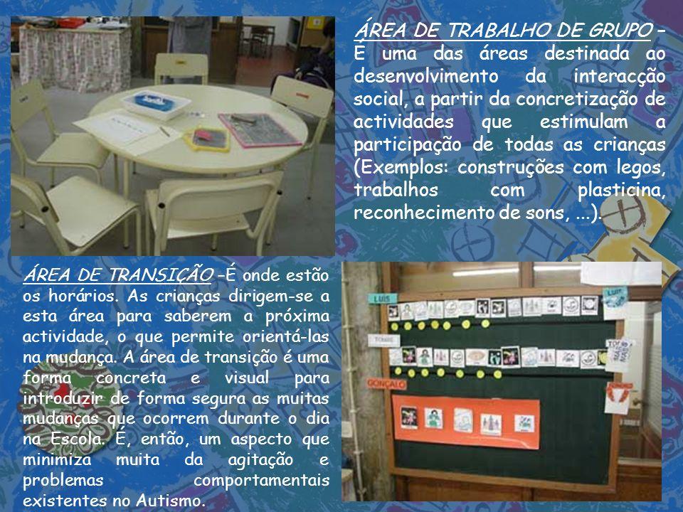 ÁREA DE TRABALHO DE GRUPO – É uma das áreas destinada ao desenvolvimento da interacção social, a partir da concretização de actividades que estimulam