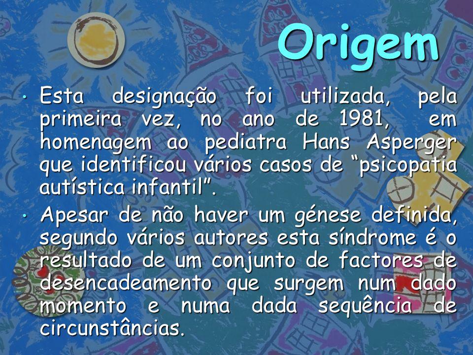 Origem Esta designação foi utilizada, pela primeira vez, no ano de 1981, em homenagem ao pediatra Hans Asperger que identificou vários casos de psicop