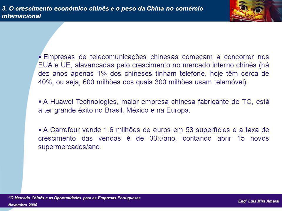 Engº Luís Mira Amaral O Mercado Chinês e as Oportunidades para as Empresas Portuguesas Novembro 2004 Empresas de telecomunicações chinesas começam a concorrer nos EUA e UE, alavancadas pelo crescimento no mercado interno chinês (há dez anos apenas 1% dos chineses tinham telefone, hoje têm cerca de 40%, ou seja, 600 milhões dos quais 300 milhões usam telemóvel).