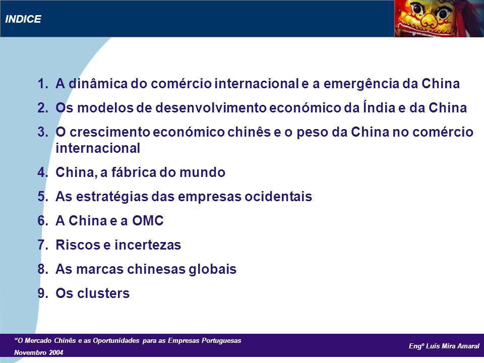Engº Luís Mira Amaral O Mercado Chinês e as Oportunidades para as Empresas Portuguesas Novembro 2004 1.A dinâmica do comércio internacional e a emergência da China 2.Os modelos de desenvolvimento económico da Índia e da China 3.O crescimento económico chinês e o peso da China no comércio internacional 4.China, a fábrica do mundo 5.As estratégias das empresas ocidentais 6.A China e a OMC 7.Riscos e incertezas 8.As marcas chinesas globais 9.Os clusters INDICE