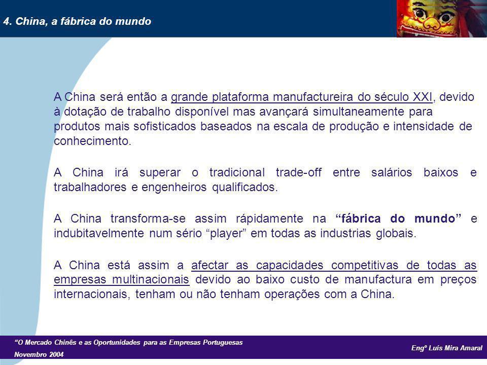 Engº Luís Mira Amaral O Mercado Chinês e as Oportunidades para as Empresas Portuguesas Novembro 2004 A China será então a grande plataforma manufactur