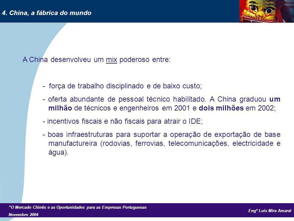 Engº Luís Mira Amaral O Mercado Chinês e as Oportunidades para as Empresas Portuguesas Novembro 2004 A China desenvolveu um mix poderoso entre: - força de trabalho disciplinado e de baixo custo; - oferta abundante de pessoal técnico habilitado.