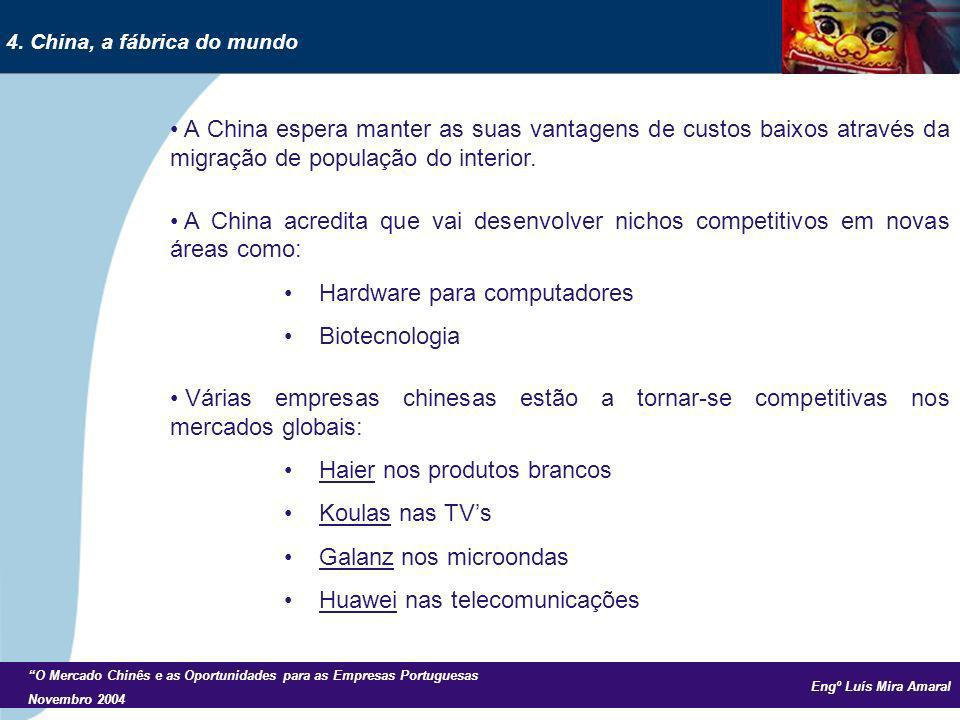 Engº Luís Mira Amaral O Mercado Chinês e as Oportunidades para as Empresas Portuguesas Novembro 2004 A China espera manter as suas vantagens de custos baixos através da migração de população do interior.