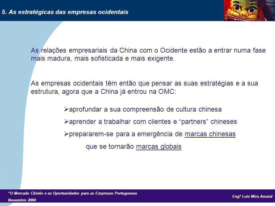 Engº Luís Mira Amaral O Mercado Chinês e as Oportunidades para as Empresas Portuguesas Novembro 2004 As relações empresariais da China com o Ocidente estão a entrar numa fase mais madura, mais sofisticada e mais exigente.