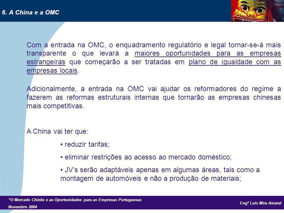 Engº Luís Mira Amaral O Mercado Chinês e as Oportunidades para as Empresas Portuguesas Novembro 2004 Com a entrada na OMC, o enquadramento regulatório