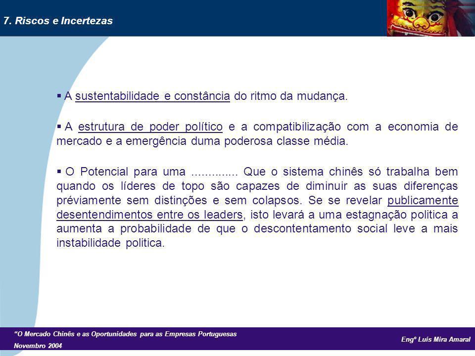 Engº Luís Mira Amaral O Mercado Chinês e as Oportunidades para as Empresas Portuguesas Novembro 2004 A sustentabilidade e constância do ritmo da mudan