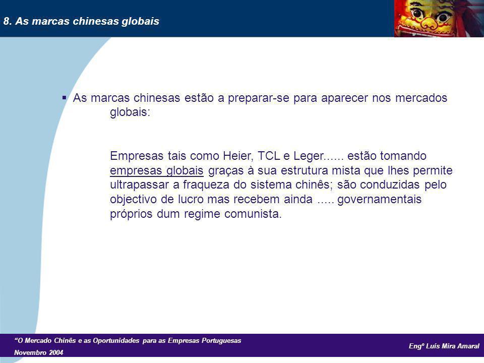 Engº Luís Mira Amaral O Mercado Chinês e as Oportunidades para as Empresas Portuguesas Novembro 2004 As marcas chinesas estão a preparar-se para aparecer nos mercados globais: Empresas tais como Heier, TCL e Leger......