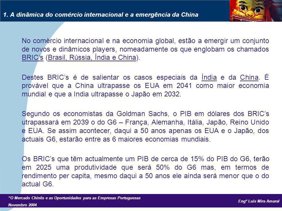 Engº Luís Mira Amaral O Mercado Chinês e as Oportunidades para as Empresas Portuguesas Novembro 2004 No comèrcio internacional e na economia global, estão a emergir um conjunto de novos e dinâmicos players, nomeadamente os que englobam os chamados BRICs (Brasil, Rússia, Índia e China).