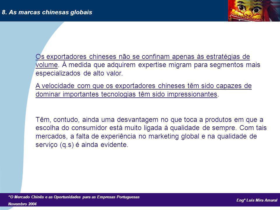 Engº Luís Mira Amaral O Mercado Chinês e as Oportunidades para as Empresas Portuguesas Novembro 2004 Os exportadores chineses não se confinam apenas às estratégias de volume.