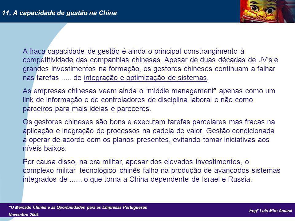 Engº Luís Mira Amaral O Mercado Chinês e as Oportunidades para as Empresas Portuguesas Novembro 2004 A fraca capacidade de gestão é ainda o principal constrangimento à competitividade das companhias chinesas.
