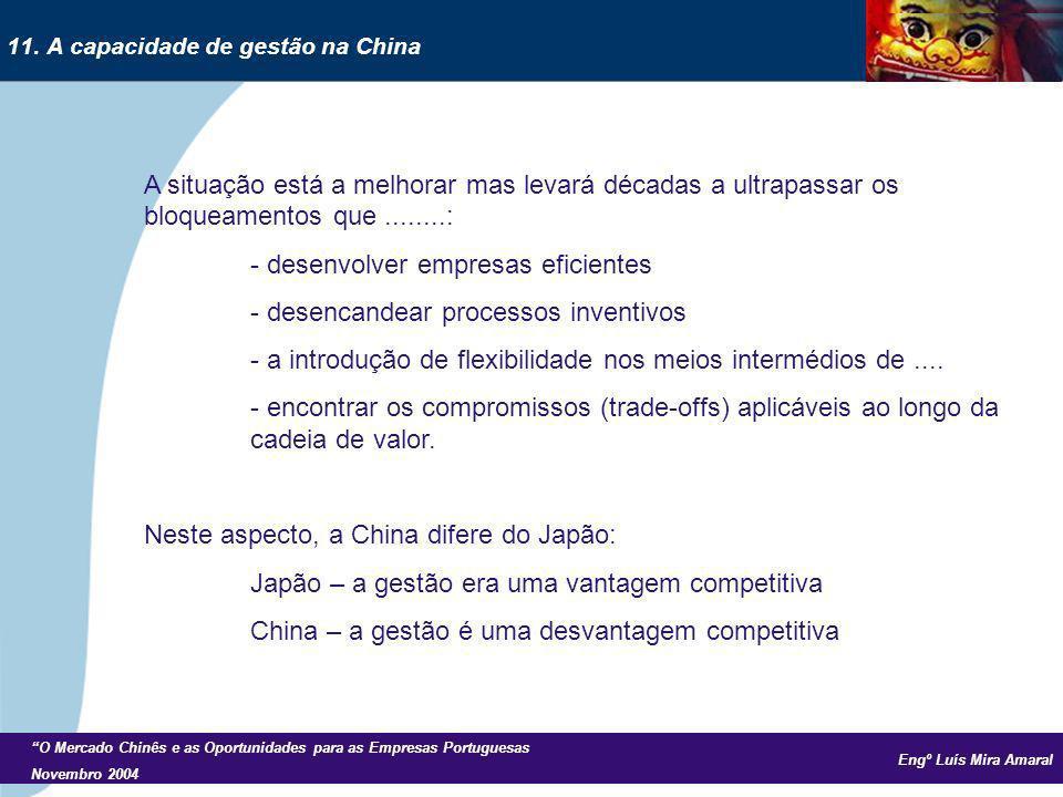 Engº Luís Mira Amaral O Mercado Chinês e as Oportunidades para as Empresas Portuguesas Novembro 2004 A situação está a melhorar mas levará décadas a ultrapassar os bloqueamentos que........: - desenvolver empresas eficientes - desencandear processos inventivos - a introdução de flexibilidade nos meios intermédios de....