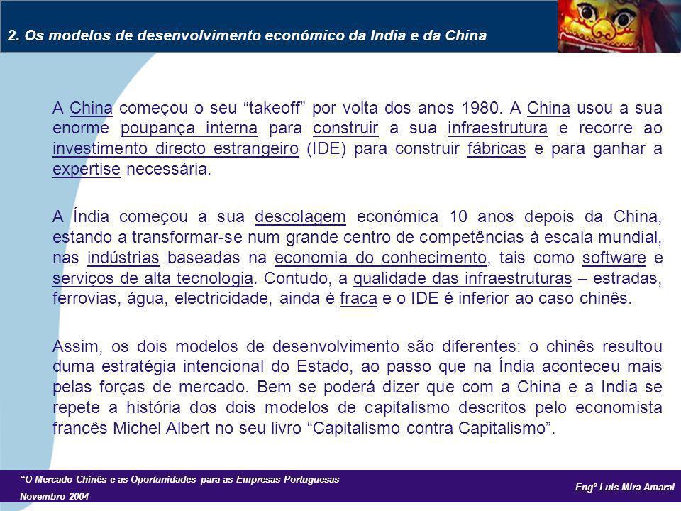 Engº Luís Mira Amaral O Mercado Chinês e as Oportunidades para as Empresas Portuguesas Novembro 2004 A China começou o seu takeoff por volta dos anos