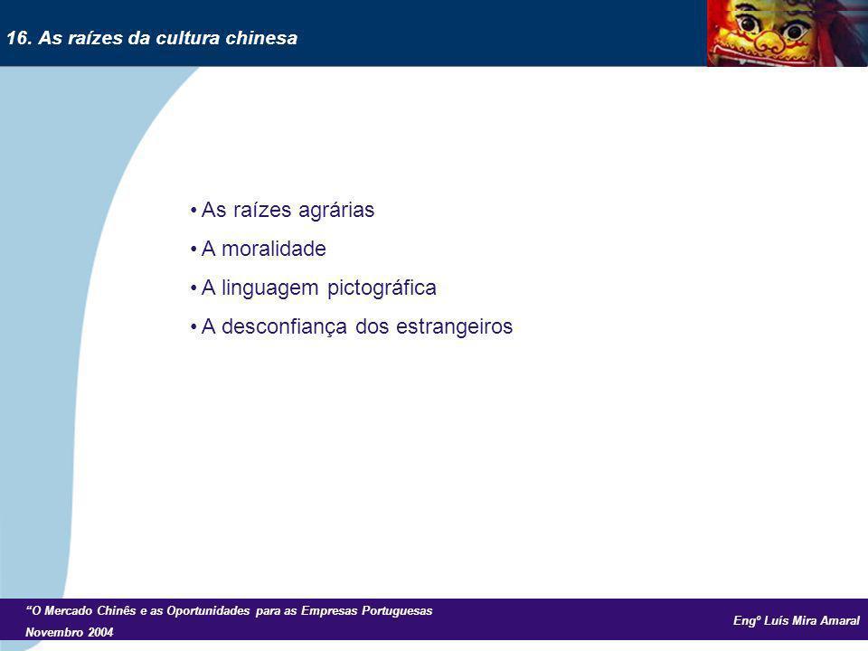 Engº Luís Mira Amaral O Mercado Chinês e as Oportunidades para as Empresas Portuguesas Novembro 2004 As raízes agrárias A moralidade A linguagem picto