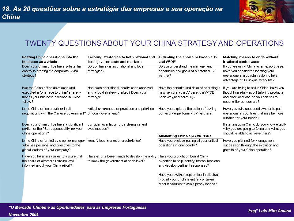 Engº Luís Mira Amaral O Mercado Chinês e as Oportunidades para as Empresas Portuguesas Novembro 2004 TWENTY QUESTIONS ABOUT YOUR CHINA STRATEGY AND OPERATIONS 18.