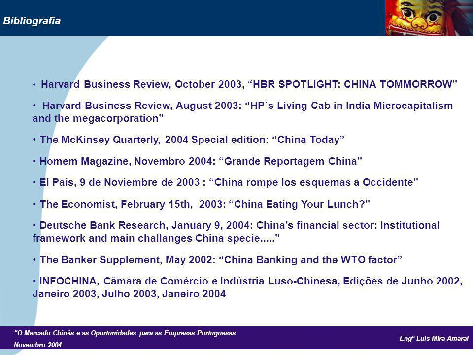 Engº Luís Mira Amaral O Mercado Chinês e as Oportunidades para as Empresas Portuguesas Novembro 2004 Bibliografia Harvard Business Review, October 200