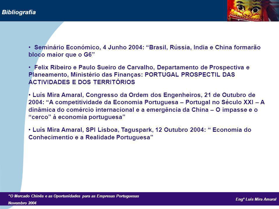 Engº Luís Mira Amaral O Mercado Chinês e as Oportunidades para as Empresas Portuguesas Novembro 2004 Bibliografia Seminário Económico, 4 Junho 2004: B