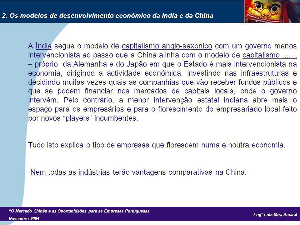 Engº Luís Mira Amaral O Mercado Chinês e as Oportunidades para as Empresas Portuguesas Novembro 2004 A Índia segue o modelo de capitalismo anglo-saxonico com um governo menos intervencionista ao passo que a China alinha com o modelo de capitalismo.......