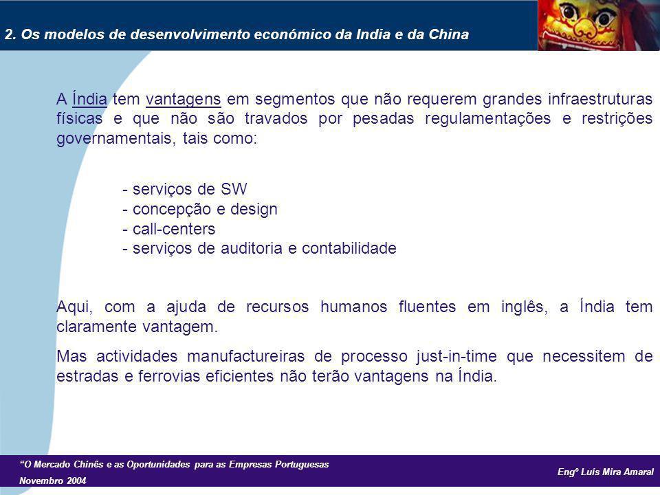 Engº Luís Mira Amaral O Mercado Chinês e as Oportunidades para as Empresas Portuguesas Novembro 2004 A Índia tem vantagens em segmentos que não requer