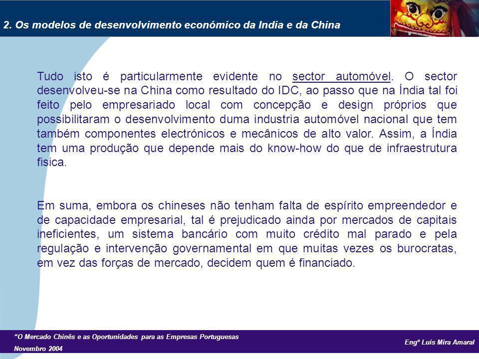 Engº Luís Mira Amaral O Mercado Chinês e as Oportunidades para as Empresas Portuguesas Novembro 2004 Tudo isto é particularmente evidente no sector automóvel.