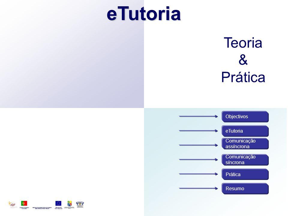 eTutoria Comunicação assíncrona Comunicação síncrona Objectivos Resumo PráticaeTutoria Teoria & Prática