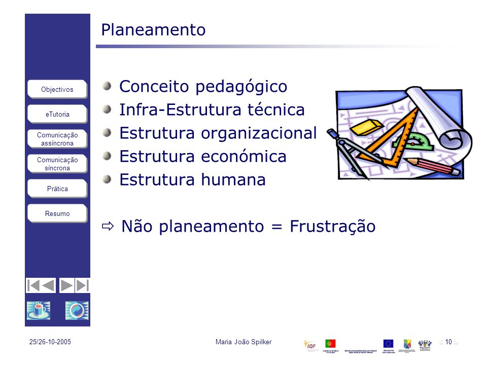 eTutoria Comunicação assíncrona Comunicação síncrona Objectivos Resumo Prática 25/26-10-2005Maria João Spilker.: 10 :. Planeamento Conceito pedagógico