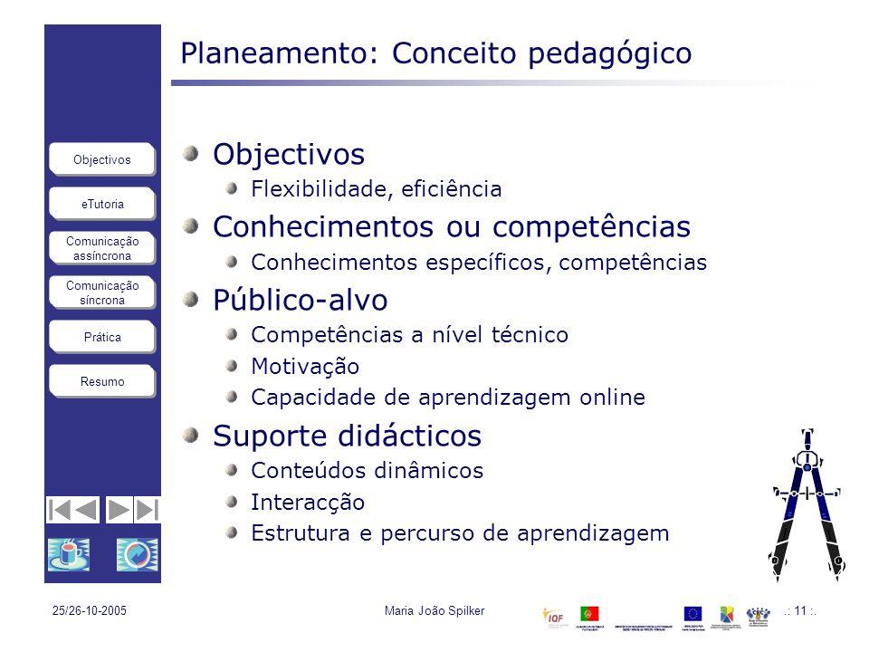 eTutoria Comunicação assíncrona Comunicação síncrona Objectivos Resumo Prática 25/26-10-2005Maria João Spilker.: 11 :. Planeamento: Conceito pedagógic