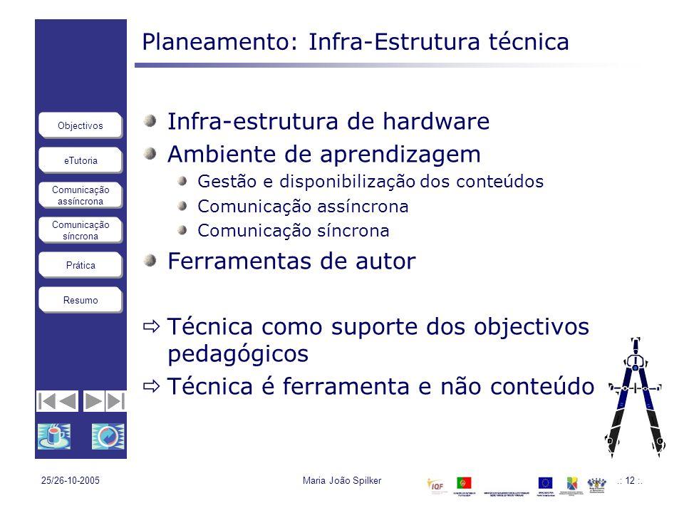 eTutoria Comunicação assíncrona Comunicação síncrona Objectivos Resumo Prática 25/26-10-2005Maria João Spilker.: 12 :. Planeamento: Infra-Estrutura té