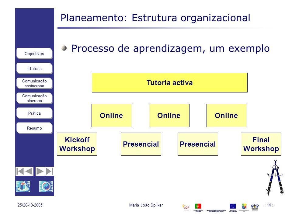 eTutoria Comunicação assíncrona Comunicação síncrona Objectivos Resumo Prática 25/26-10-2005Maria João Spilker.: 14 :. Planeamento: Estrutura organiza