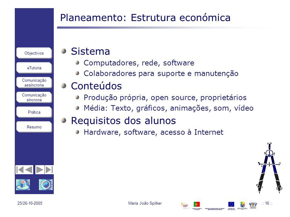 eTutoria Comunicação assíncrona Comunicação síncrona Objectivos Resumo Prática 25/26-10-2005Maria João Spilker.: 16 :. Planeamento: Estrutura económic