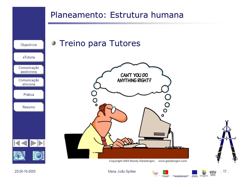 eTutoria Comunicação assíncrona Comunicação síncrona Objectivos Resumo Prática 25/26-10-2005Maria João Spilker.: 17 :. Planeamento: Estrutura humana T