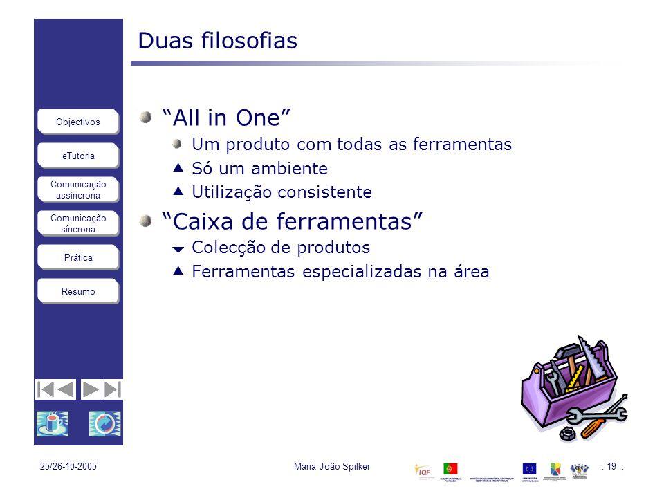 eTutoria Comunicação assíncrona Comunicação síncrona Objectivos Resumo Prática 25/26-10-2005Maria João Spilker.: 19 :. Duas filosofias All in One Um p