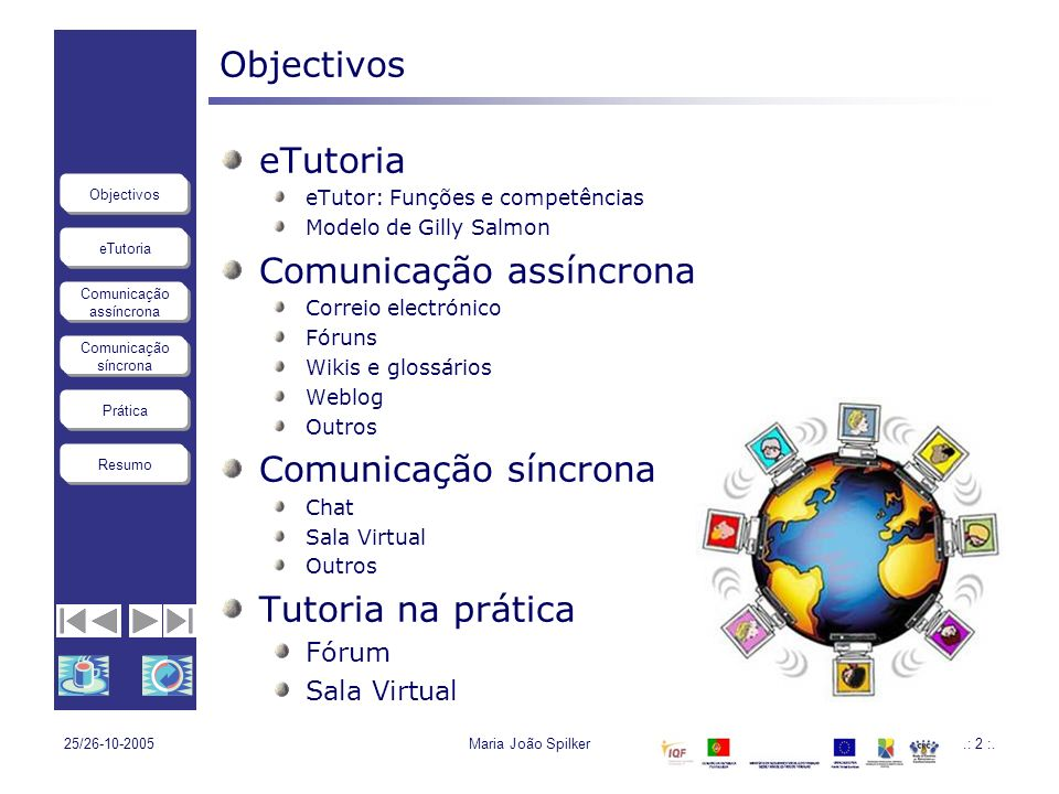 eTutoria Comunicação assíncrona Comunicação síncrona Objectivos Resumo Prática 25/26-10-2005Maria João Spilker23 Actividade eTutoria na prática Utilização dos fóruns