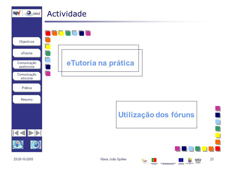 eTutoria Comunicação assíncrona Comunicação síncrona Objectivos Resumo Prática 25/26-10-2005Maria João Spilker23 Actividade eTutoria na prática Utiliz