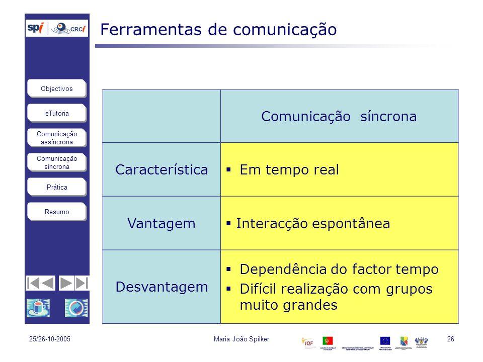 eTutoria Comunicação assíncrona Comunicação síncrona Objectivos Resumo Prática 25/26-10-2005Maria João Spilker26 Ferramentas de comunicação Comunicaçã