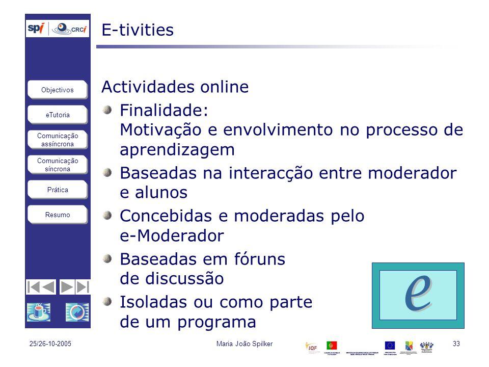 eTutoria Comunicação assíncrona Comunicação síncrona Objectivos Resumo Prática 25/26-10-2005Maria João Spilker33 E-tivities Actividades online Finalid