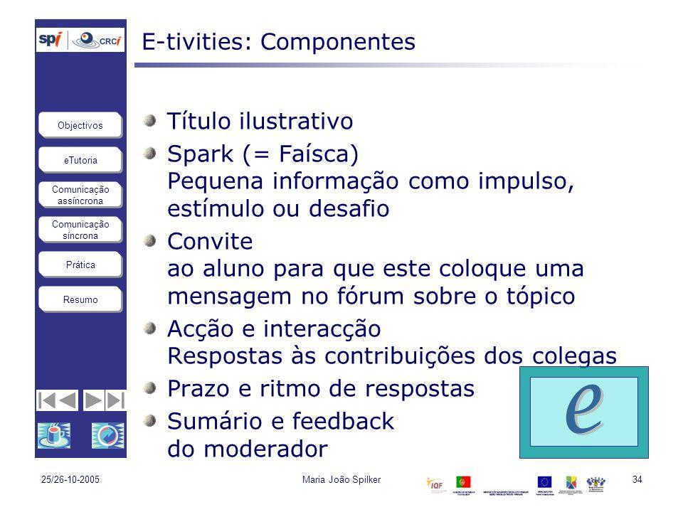 eTutoria Comunicação assíncrona Comunicação síncrona Objectivos Resumo Prática 25/26-10-2005Maria João Spilker34 E-tivities: Componentes Título ilustr