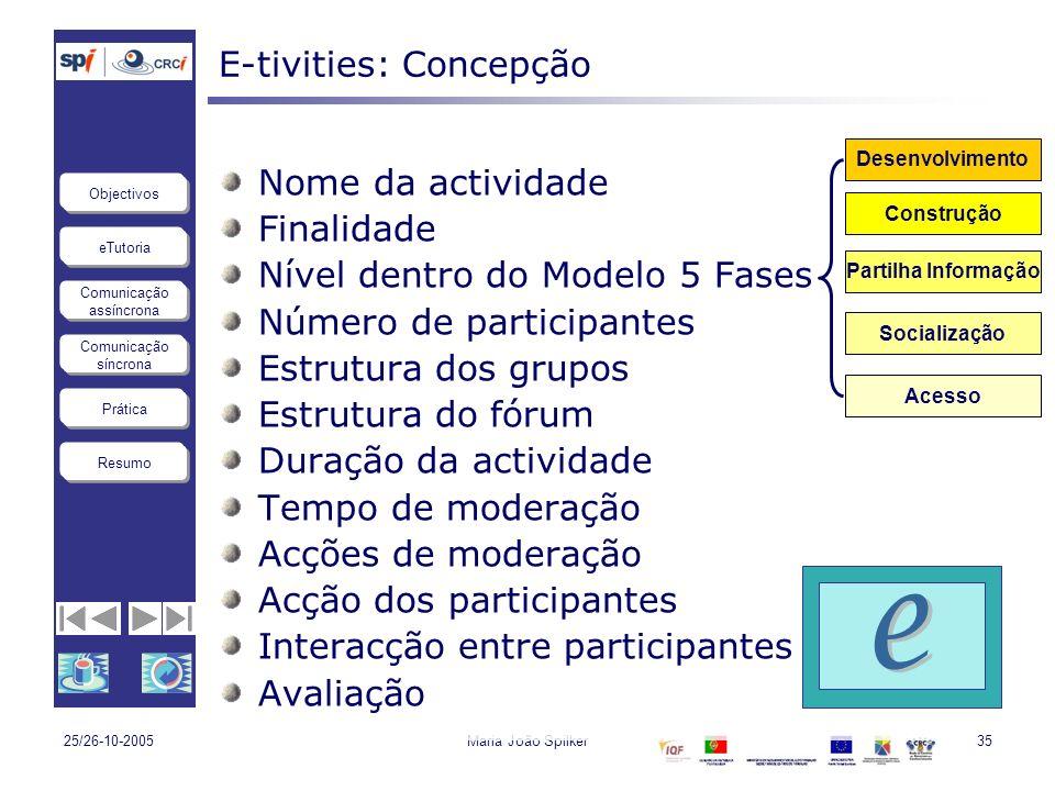 eTutoria Comunicação assíncrona Comunicação síncrona Objectivos Resumo Prática 25/26-10-2005Maria João Spilker35 E-tivities: Concepção Nome da activid