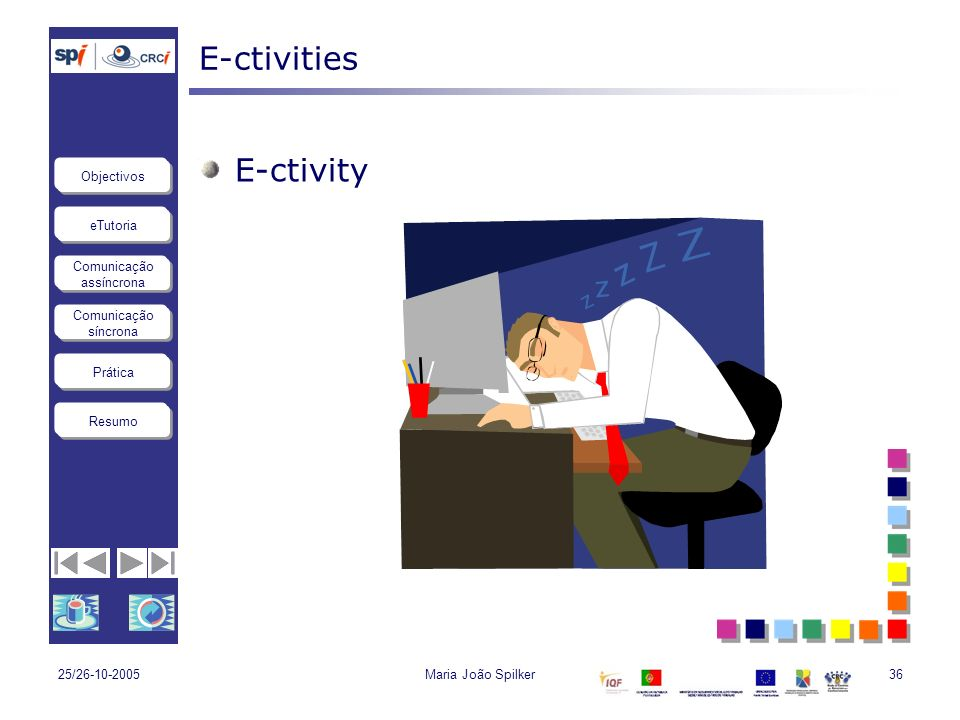 eTutoria Comunicação assíncrona Comunicação síncrona Objectivos Resumo Prática 25/26-10-2005Maria João Spilker36 E-ctivities E-ctivity