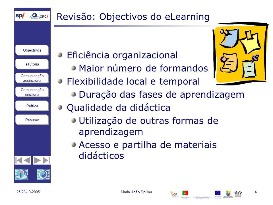 eTutoria Comunicação assíncrona Comunicação síncrona Objectivos Resumo Prática 25/26-10-2005Maria João Spilker.: 15 :.