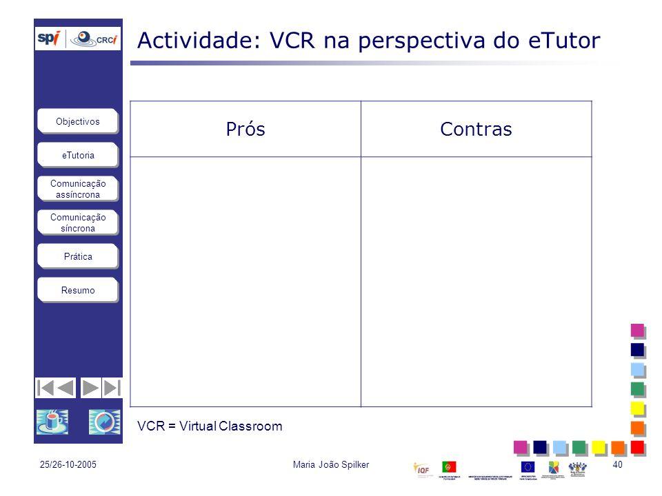 eTutoria Comunicação assíncrona Comunicação síncrona Objectivos Resumo Prática 25/26-10-2005Maria João Spilker40 Actividade: VCR na perspectiva do eTu