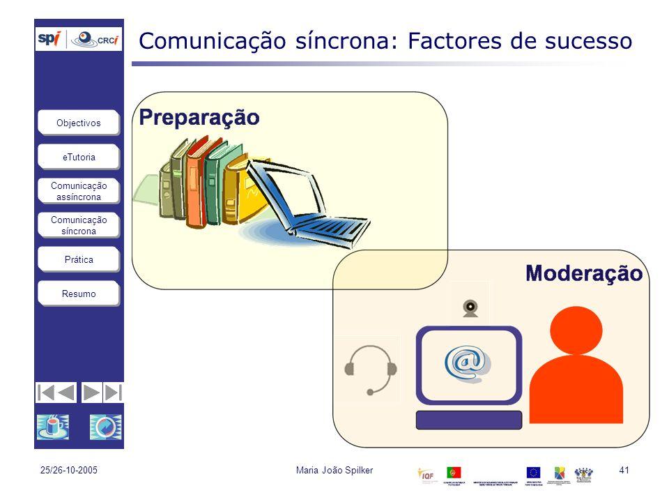 eTutoria Comunicação assíncrona Comunicação síncrona Objectivos Resumo Prática 25/26-10-2005Maria João Spilker41 Comunicação síncrona: Factores de suc