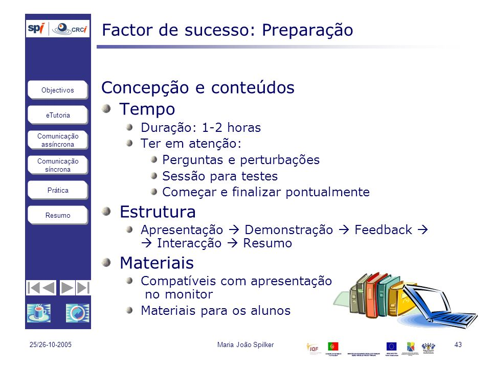 eTutoria Comunicação assíncrona Comunicação síncrona Objectivos Resumo Prática 25/26-10-2005Maria João Spilker43 Factor de sucesso: Preparação Concepç