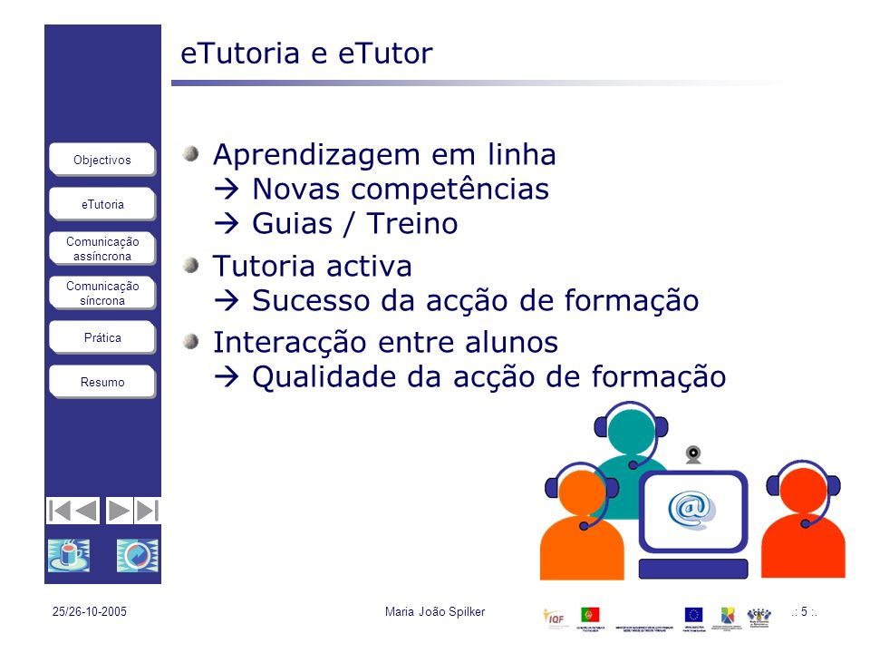 eTutoria Comunicação assíncrona Comunicação síncrona Objectivos Resumo Prática 25/26-10-2005Maria João Spilker.: 5 :. eTutoria e eTutor Aprendizagem e