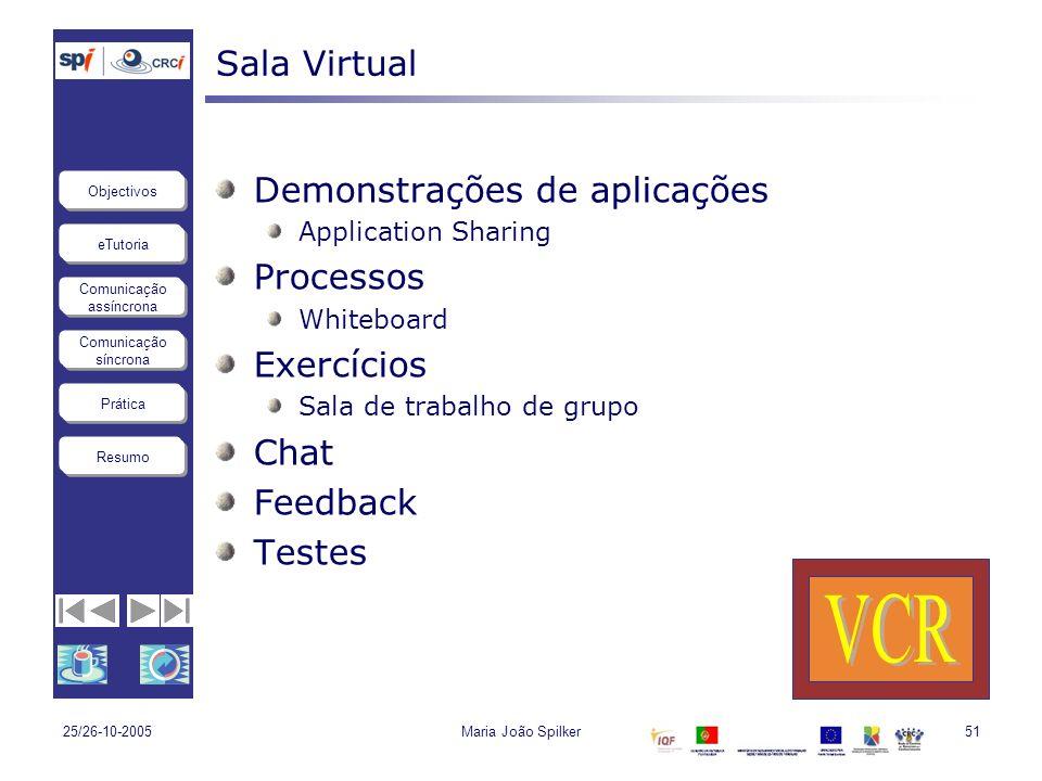 eTutoria Comunicação assíncrona Comunicação síncrona Objectivos Resumo Prática 25/26-10-2005Maria João Spilker51 Sala Virtual Demonstrações de aplicaç