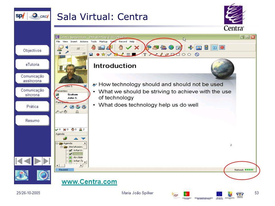 eTutoria Comunicação assíncrona Comunicação síncrona Objectivos Resumo Prática 25/26-10-2005Maria João Spilker53 Sala Virtual: Centra www.Centra.com