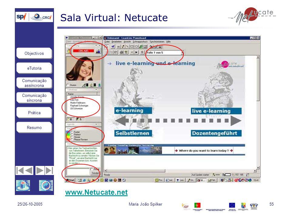 eTutoria Comunicação assíncrona Comunicação síncrona Objectivos Resumo Prática 25/26-10-2005Maria João Spilker55 Sala Virtual: Netucate www.Netucate.n