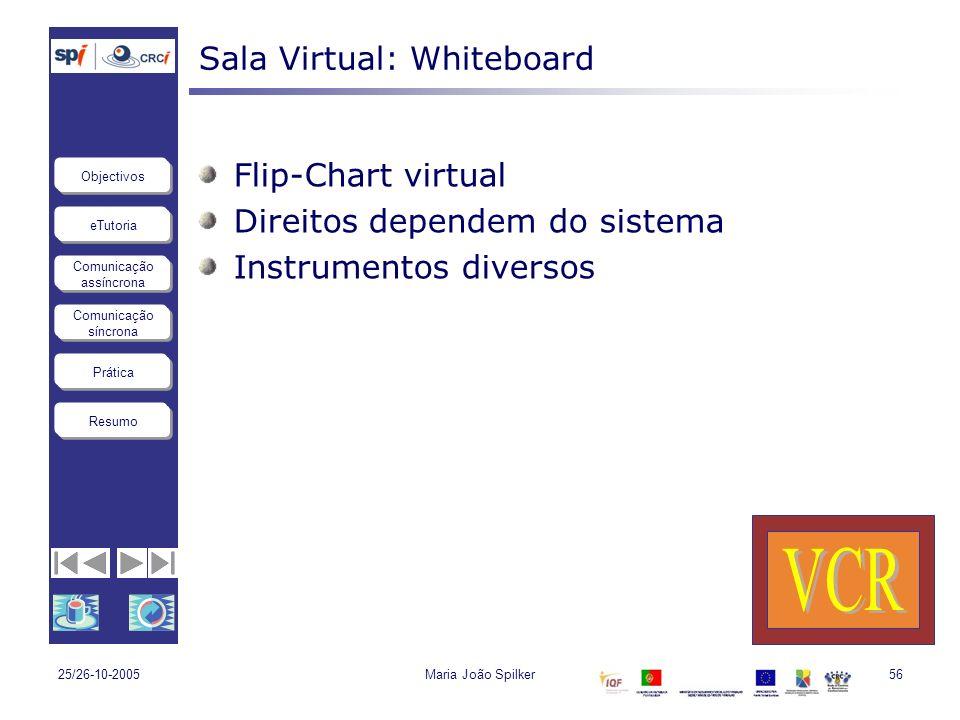 eTutoria Comunicação assíncrona Comunicação síncrona Objectivos Resumo Prática 25/26-10-2005Maria João Spilker56 Sala Virtual: Whiteboard Flip-Chart v