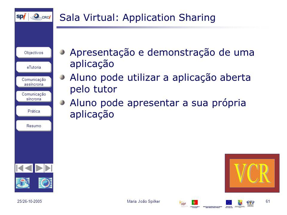 eTutoria Comunicação assíncrona Comunicação síncrona Objectivos Resumo Prática 25/26-10-2005Maria João Spilker61 Sala Virtual: Application Sharing Apr
