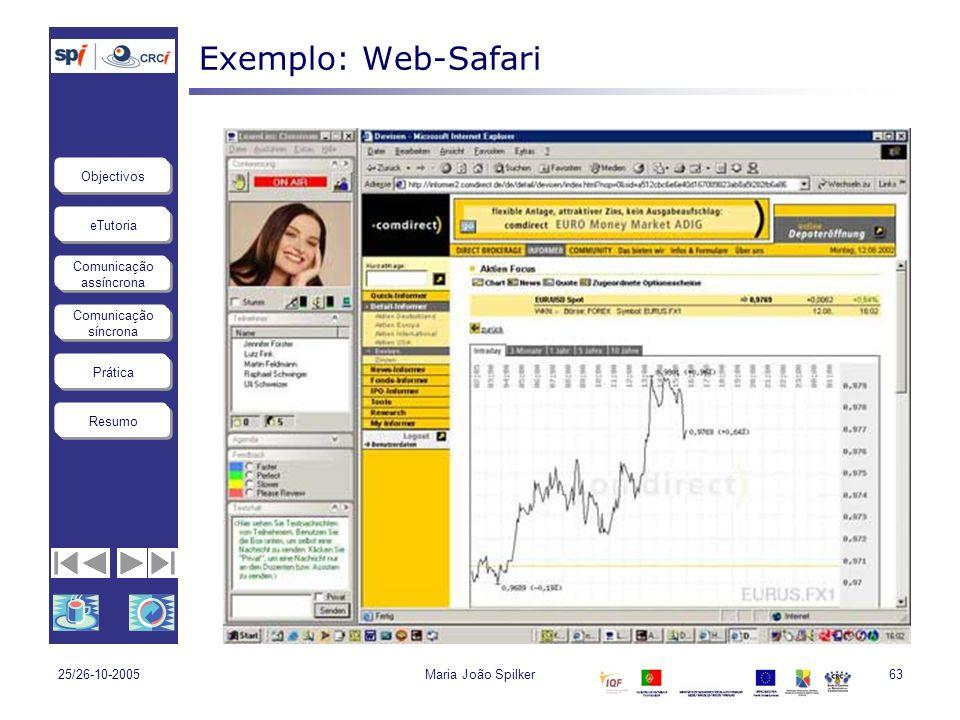 eTutoria Comunicação assíncrona Comunicação síncrona Objectivos Resumo Prática 25/26-10-2005Maria João Spilker63 Exemplo: Web-Safari